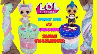 D.I.Y. LOL Surprise Unicorn VS Punk Boi Slime Challenge FISH BOWL SLIME & GLITTER SLIME