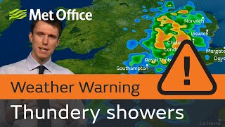Heavy thundery showers in the southeast