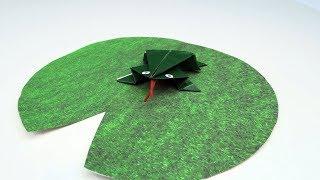 Прыгающая лягушка оригами  Как сделать лягушку из бумаги ПОДЕЛКИ ДЛЯ ДЕТЕЙ