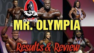 2019 Mr. Olympia - Open, 212, Figure, Men's and Women's Physique, Bikini.  Review and Results