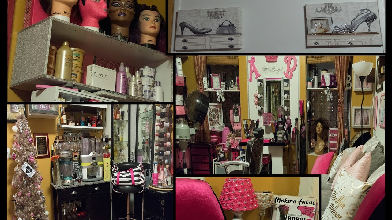 Man Cave Hair Salon : Living room tour with man cave and beauty salon all in one
