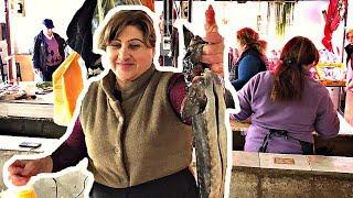 TİMSAH GİBİ BALIK  (Izgara Mersin Balığı - Gürcistan Batum Balık Pazarı)