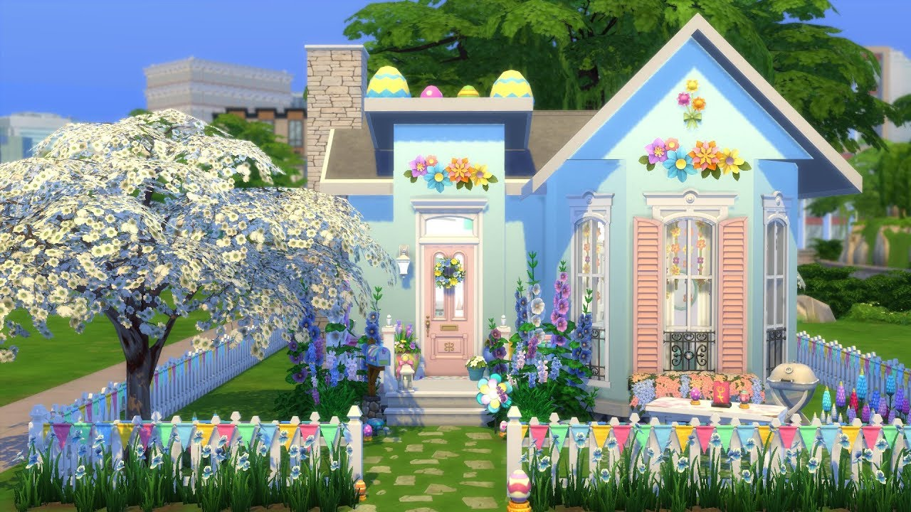 THE SIMS 4: SPEED BUILD // PASTEL HOUSE // NO CC - YouTube