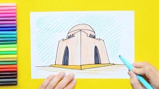 How to draw and color Mazar e Quaid Tomb, Karachi