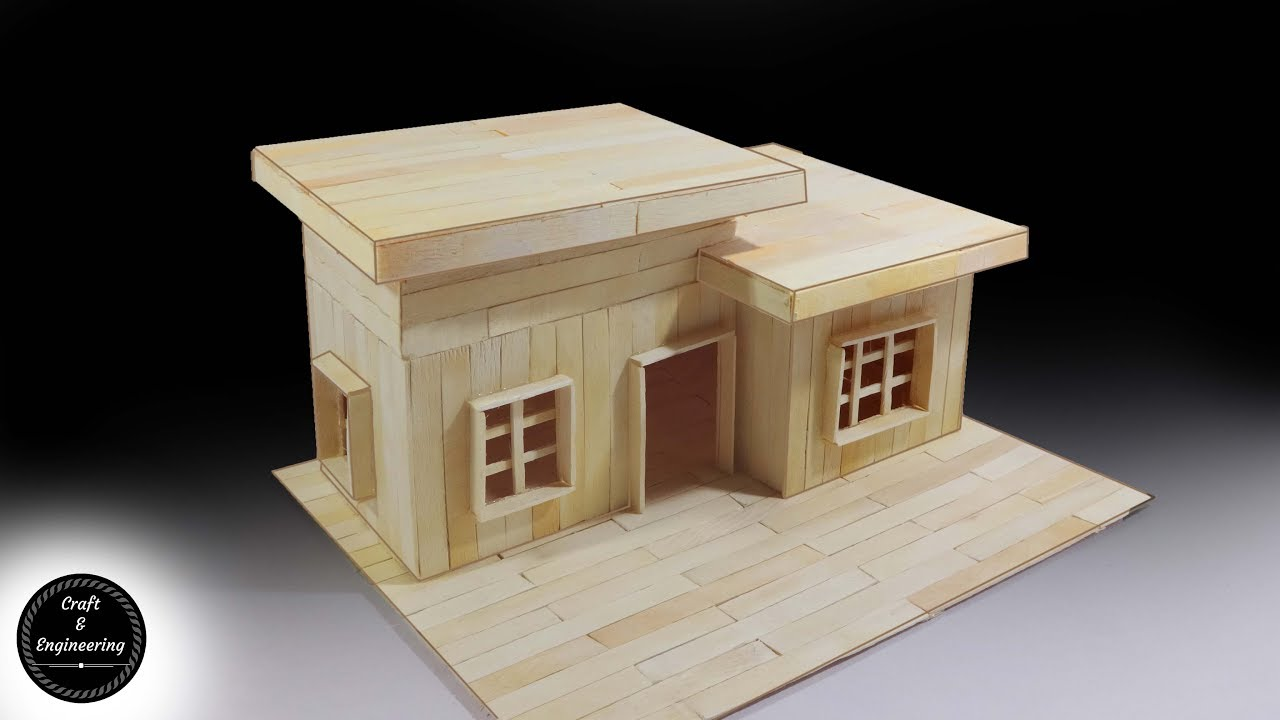 How to make modern house with popsicle sticks youtube for How to make a house step by step