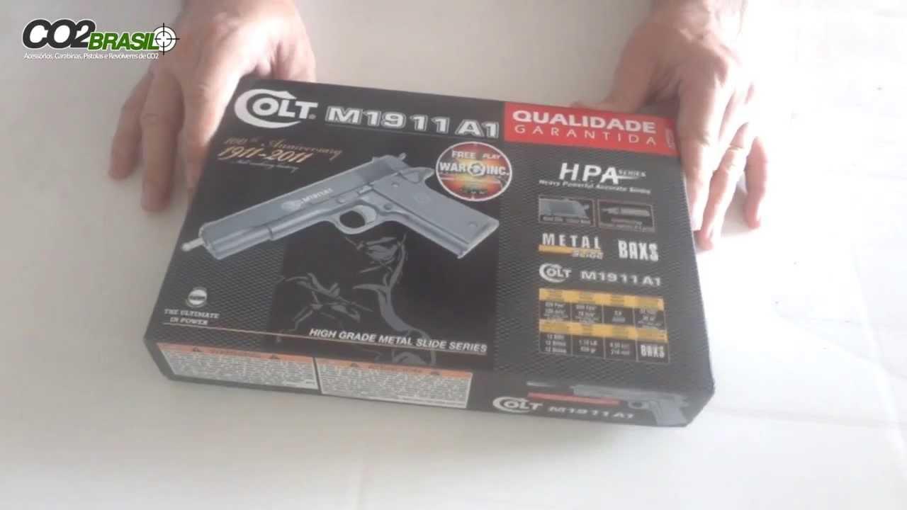 bb28a8af1 Pistola de Airsoft Colt M1911 A1- Cyber Gun - com ferrolho de metal -  YouTube