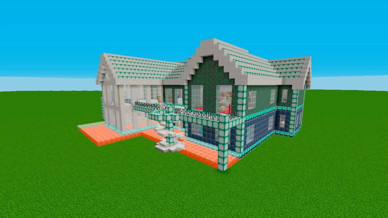Lapis lazuli house - Minecraft How To Build A Disco Sparkling House 58x54 Blocks Home Project14