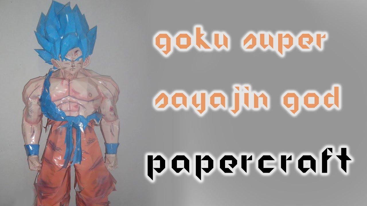 Papercraft Goku Super Saiyan God Life Size Papercraft - مجسم ورقي