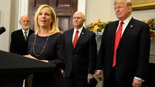 Trump hails border wall as new Homeland Security boss is sworn in