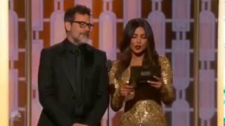 Priyanka Chopra and Jeffrey Dean Morgan presenting at the 74th Golden Globe Awards