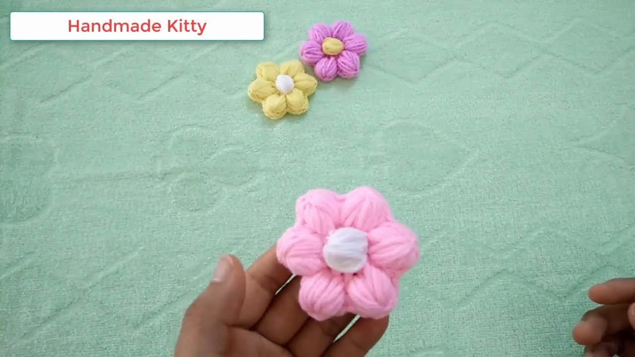 cách móc hoa len 6 cánh đẹp, Crochet flower tutorial very easy step by step,Puf Lif Çiçeği Yapımı