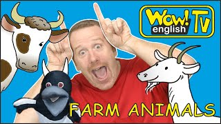 Steve and Maggie with Farm Animals | Free Animal Song for Kids from Wow English TV