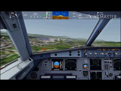 AeroFly2 mobile simul zurich int.airport landing [playing cockpit view and tower view]