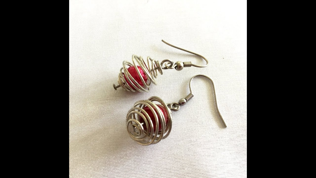 How to make caged earrings using wire - YouTube