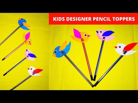 2 MINUTES EASY PENCIL CAP CRAFT || DIY BIRD PENCIL TOPPERS || ORIGAMI PENCIL CAPS || SCHOOL CRAFTS