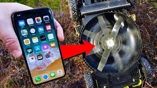iPhone X Upside Down Lawn Mower Scratch Test!!