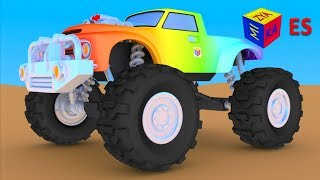 Juego de construcción: un camión monstruo. Dibujos animados para niños en español