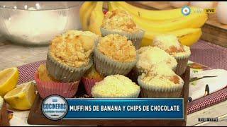 Muffins de banana, de chips de chocolate y de dulce de leche