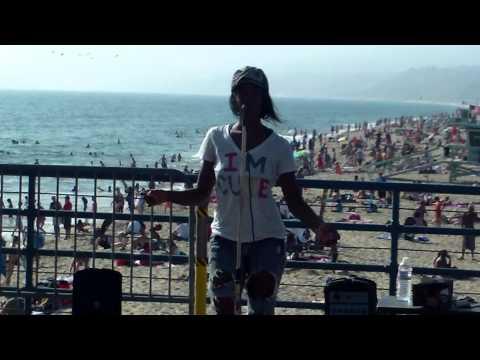 Lona singing at Santa Monica Pier to Madison from Madison Media Radio