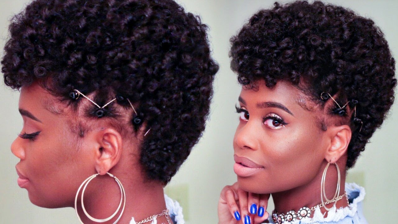 Curly Frohawk On Tapered Natural Hair Using Mystique