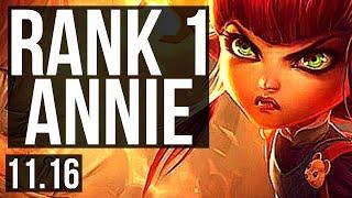 ANNIE vs ZED (MID)   Rank 1 Annie, 13/1/6, 69% winrate, 6 solo kills   KR Grandmaster   v11.16