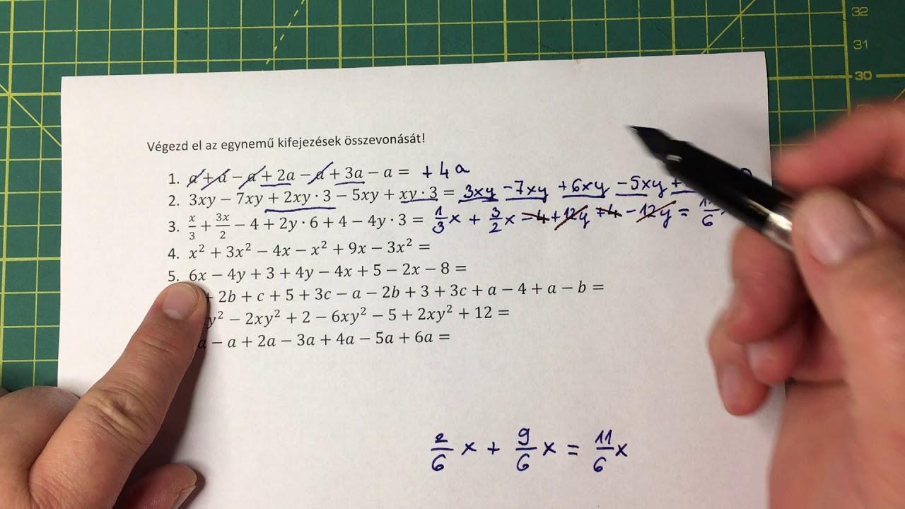 Egynemű kifejezések összevonása - algebra 02
