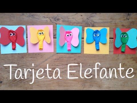 Tarjetas de cumpleaños hechas a mano fáciles de Elefantes