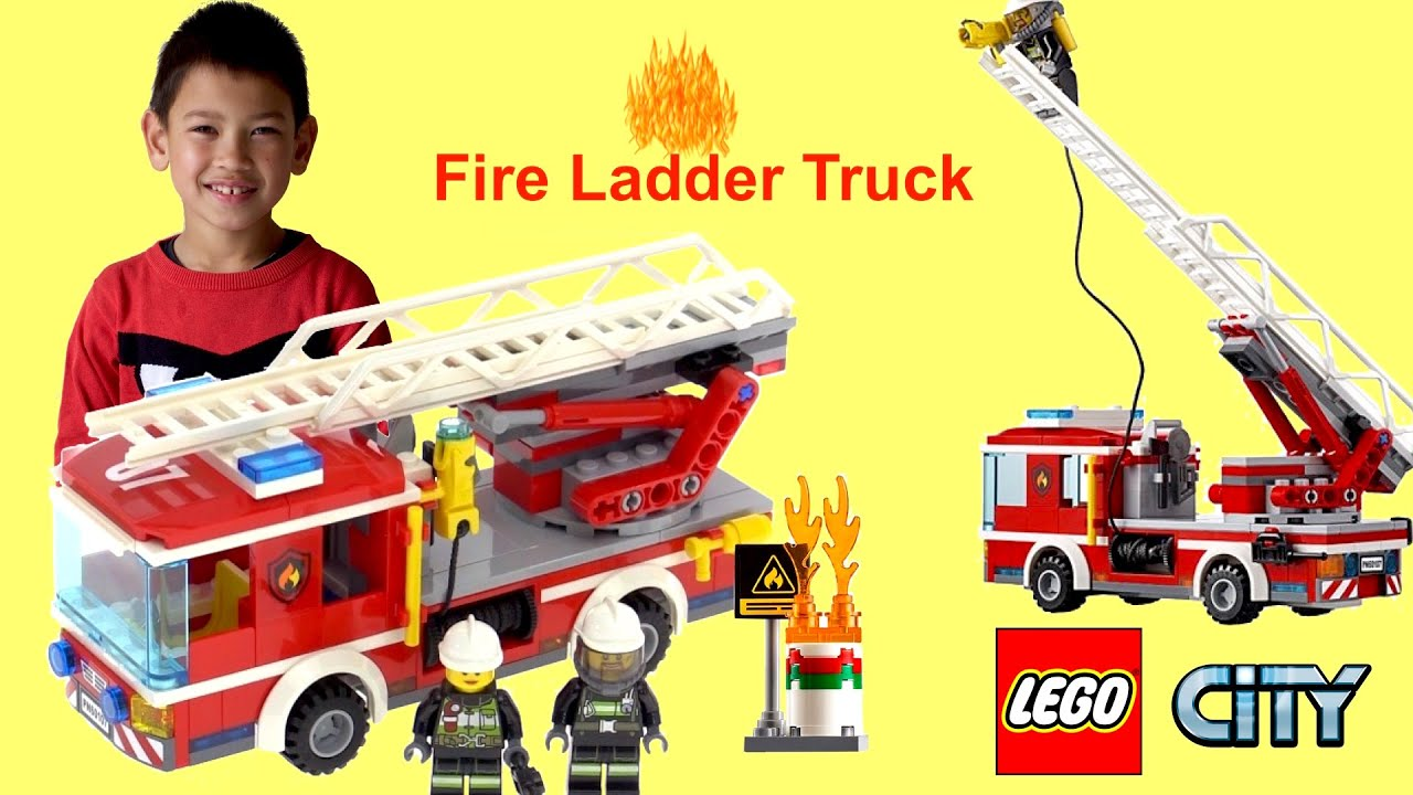 Lego City Fire Ladder Truck 60107 Speed Build Review And Kids Play