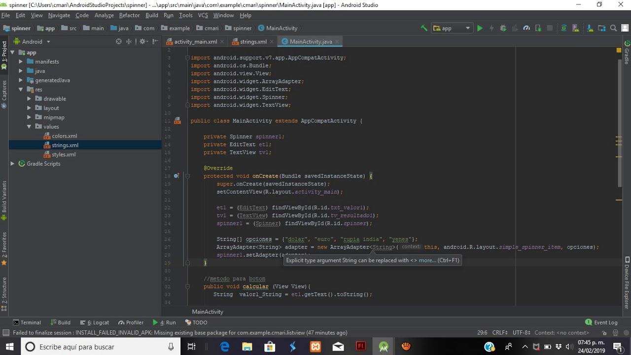 spinner en Android Studio - YouTube
