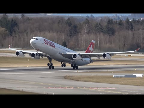 GREAT Plane spotting day at Zürich airport! 30+ planes taxi and take off! (A340, A330, 777, etc) 4K
