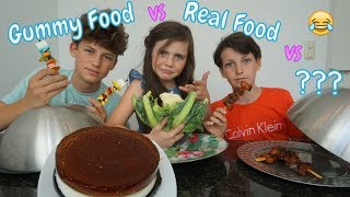 GUMMY FOOD VS REAL FOOD VS SURPRISE CHALLENGE! - Bibi