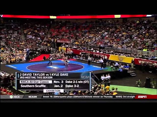 2013 NCAA Wrestling National Championships D1 Kyle Dake (Cornell) vs David Taylor (PSU) Travel Video