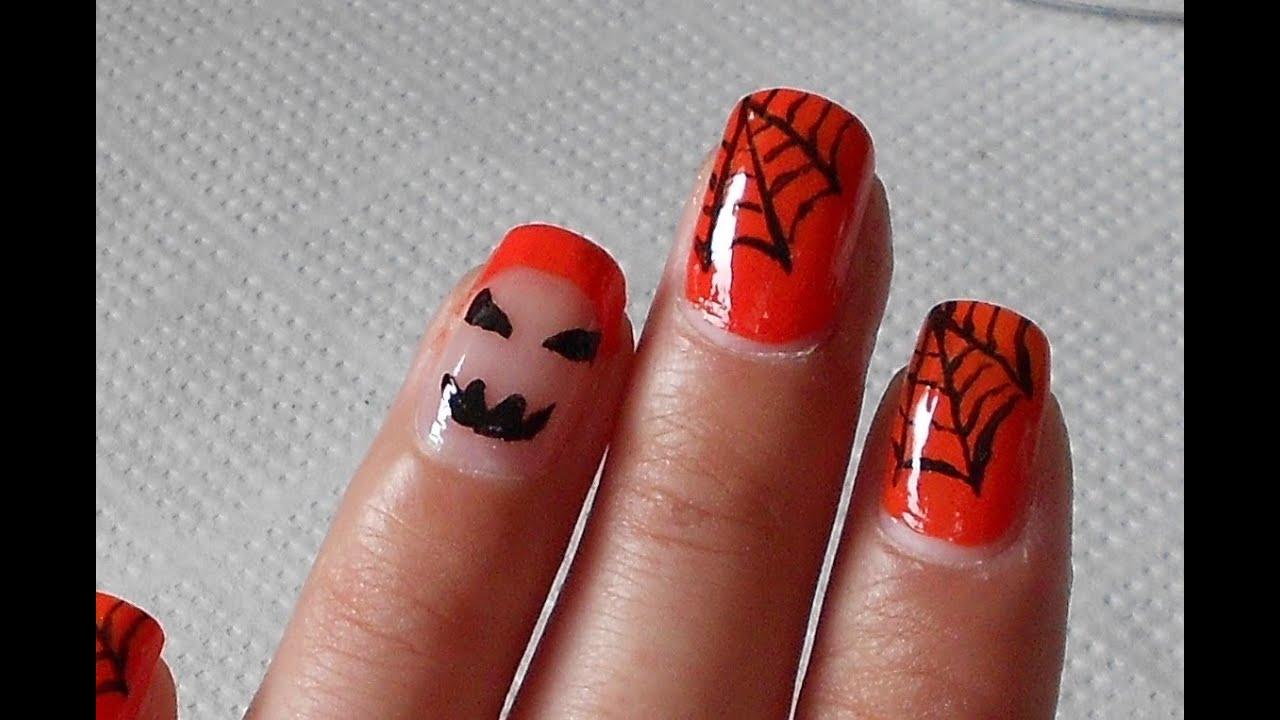 Nail art Halloween semplice per unghie corte e medie ... e915859f93c7