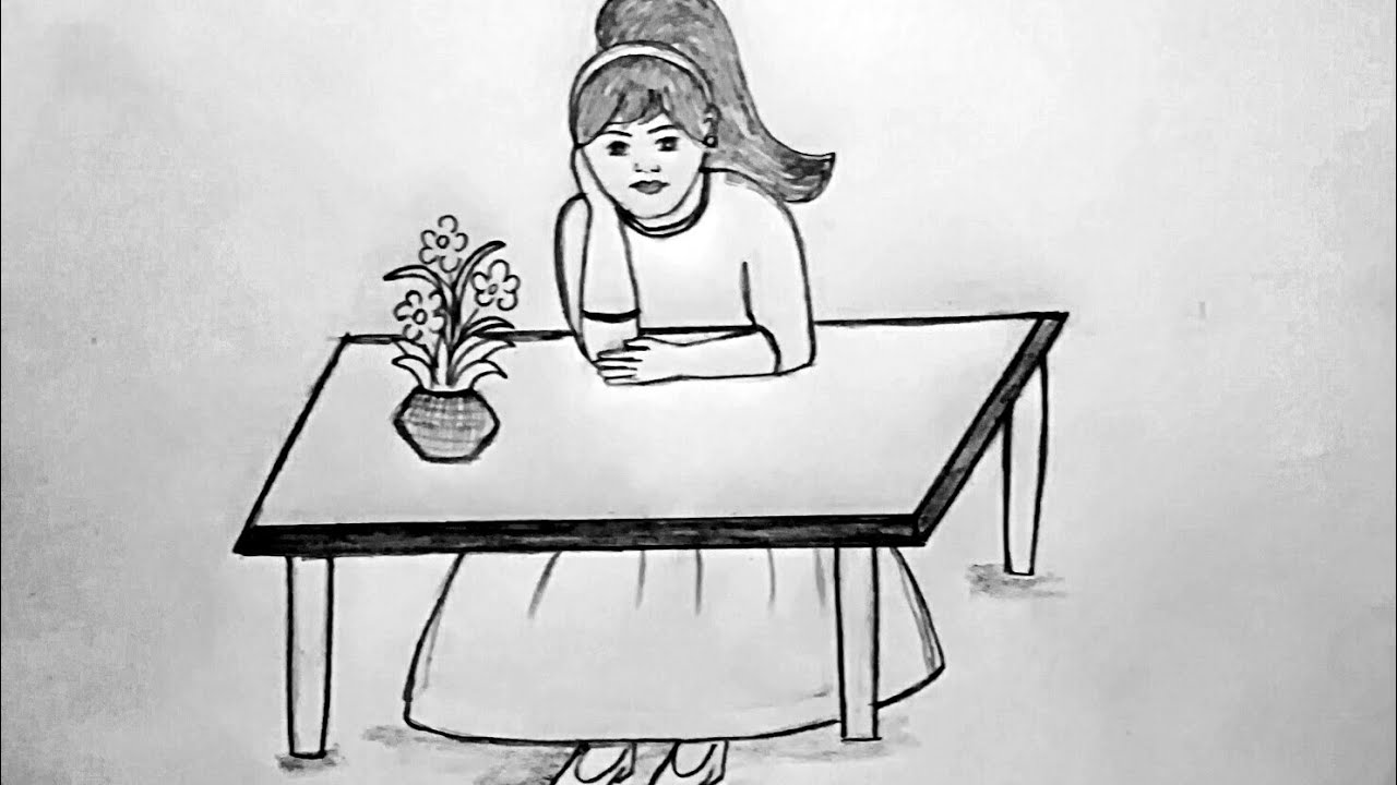 How To Draw Easily A Girl Sitting On Table Youtube