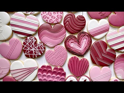Satisfying Cookie Decorating | 17 HEARTS | The Graceful Baker