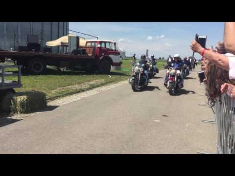 Vice President Mike Pence and Senator Joni Ernst Ride Ride Harleys into Rost and Ride