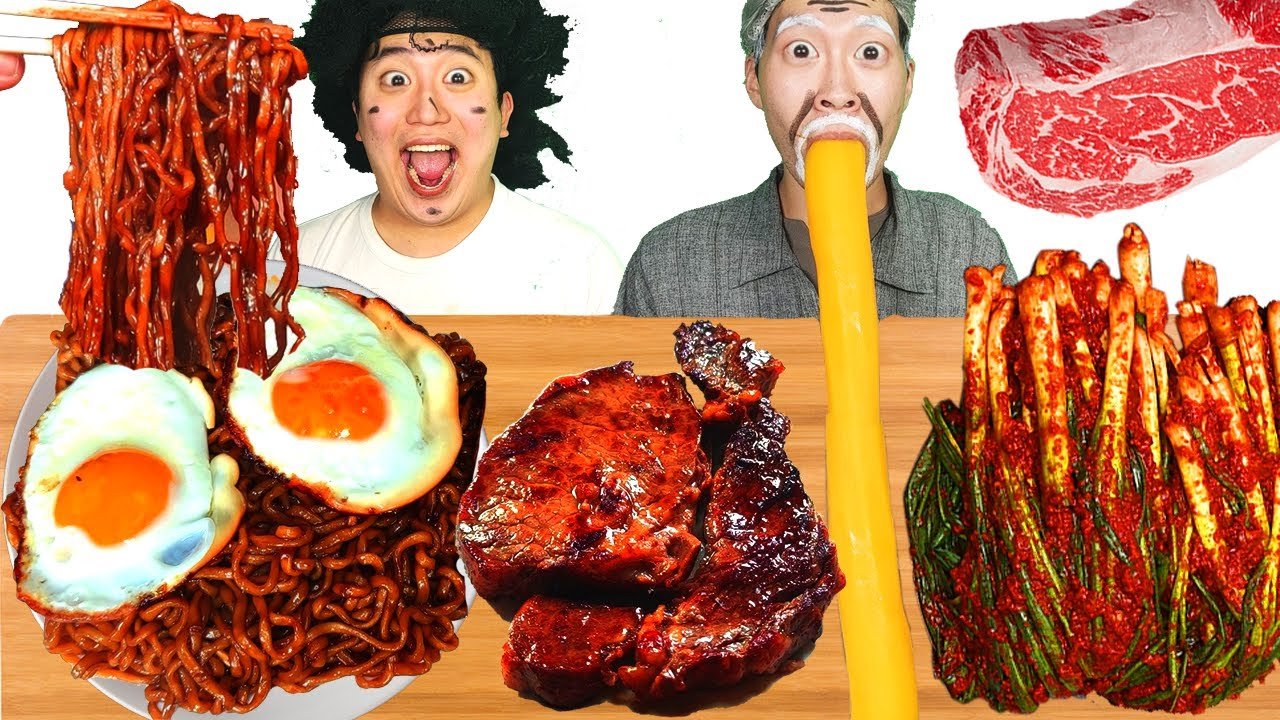 Download MUKBANG ASMR   KOREAN KIMCHI RECIPE ! BLACK BEAN NOODLES & FRIED EGG & STEAK! KOREAN FOODS