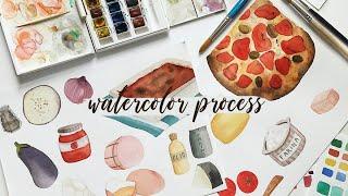 Watercolor process 🖌🎨 Ricettario illustrato in the making