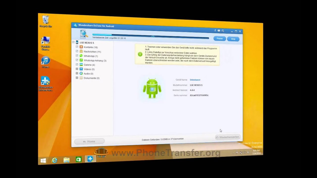 Nexus 5 Datenrettung: Wie man gelöschte Daten von LG Nexus 5 leicht erholen