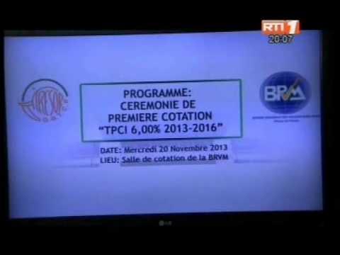 Emprunte TPCI :  l'emprunte du trésor public de Côte d'Ivoire vient d'être coté en bourse