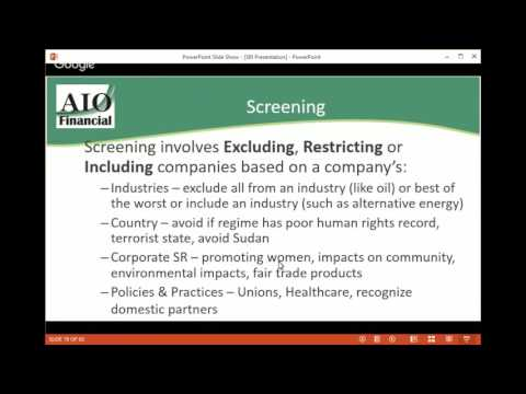 Socially Responsible Investing webinar - presented by AIO Financial