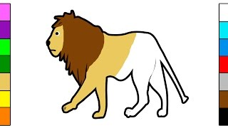 Coloring Page & Learn Colors for Kids with Lion