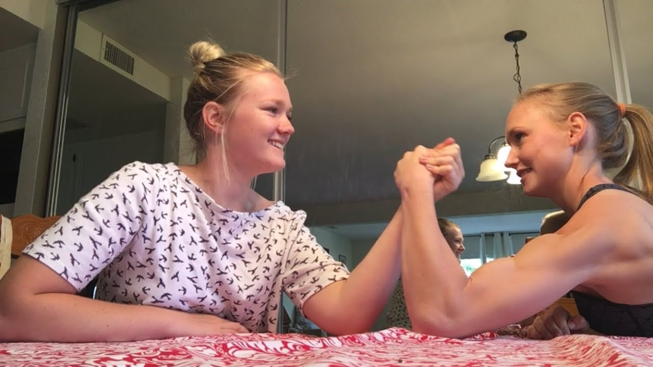 Two blondes wrestling