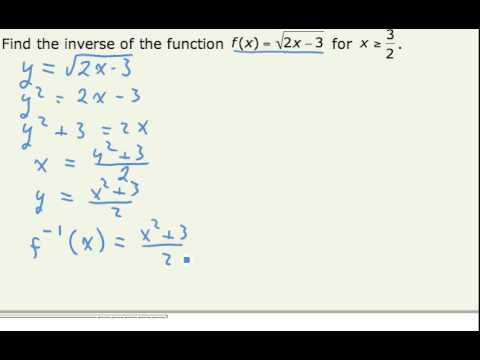 Find Inverse Functions (Square Root) (cc)