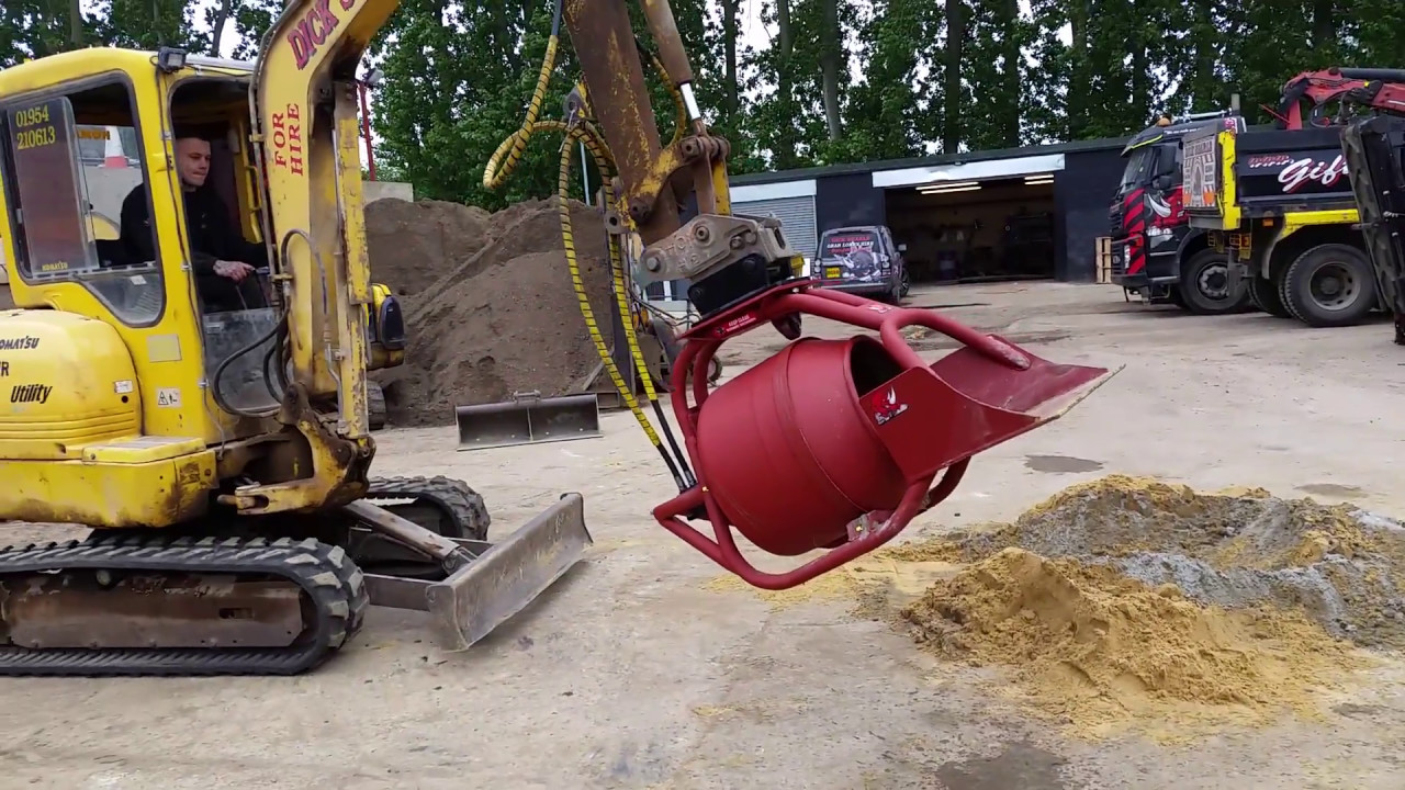 New Hydraulic Digger Excavator Mounted Concrete Mixer Soil Screener Youtube