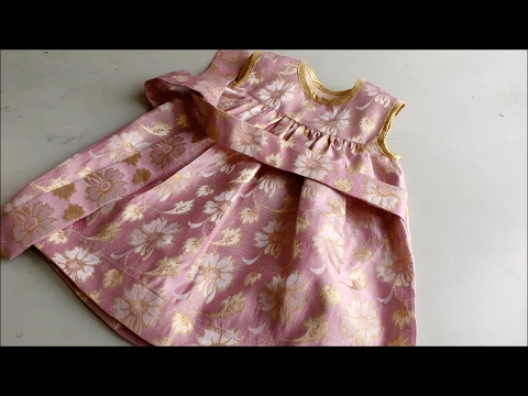 Make a Cute Baby frock / Yoke Design - Cut & Sew gathered frill skirt/ bias tape neck armhole jhabla