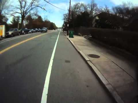 Tour of Beacon St Bike Route in Newton/Brookline, Massachusetts