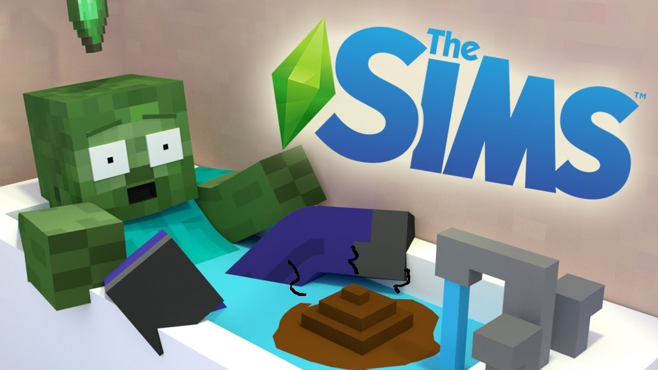 Monster School : THE SIMS CHALLENGE - Minecraft Animation