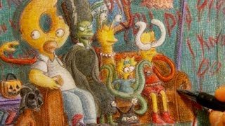 """The Simpsons """"Treehouse of Horror"""" Couch Gag Drawing"""