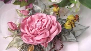 Ирина Жукова - школа вышивки лентами, брошь-роза